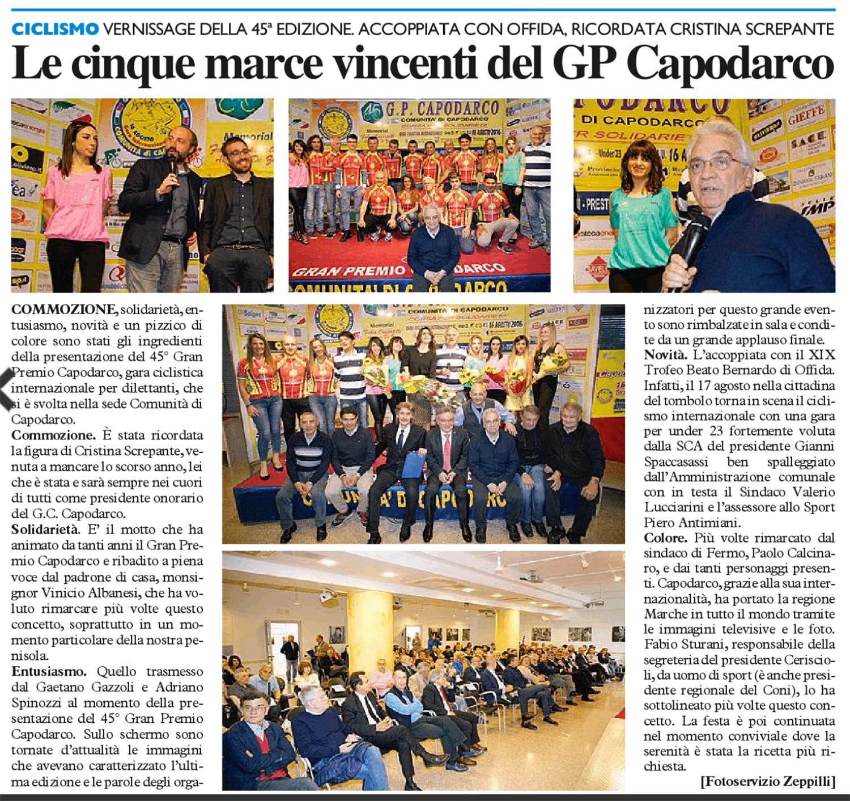 Resto del Carlino - Domenica 15 Maggio 2016